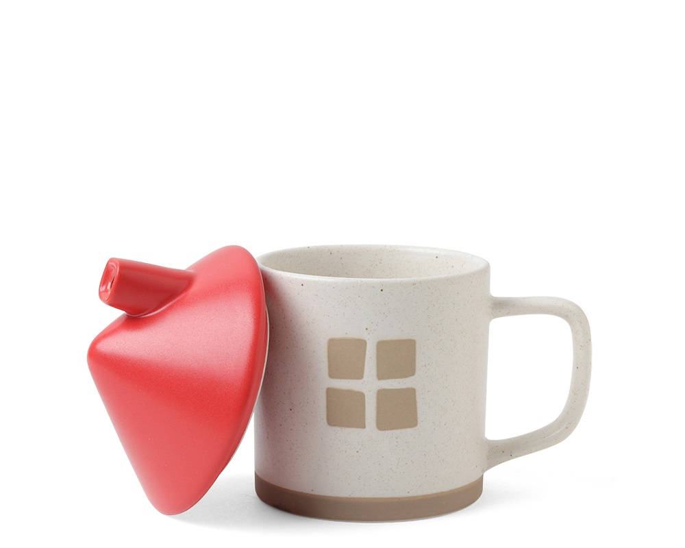 Mug with Lid House Red Roof