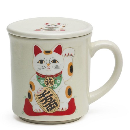 FORTUNE CAT MUG WITH LID