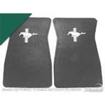 Embroidered Carpet Floor Mats (Dark Green)
