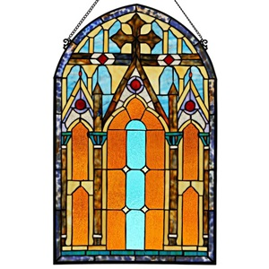 "32""H Tiffany Style Roman Cathedral Panel"