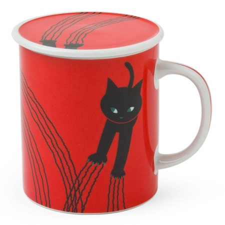 Naughty Cat 8 Oz. Lidded Mug - Red