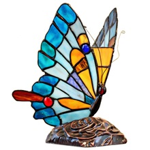 "9""H Tiffany Stained Glass Flying Butterfly Accent Lamp"