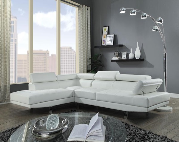Acme Furniture 52645 Connor Cream Pu Sectional Sofa
