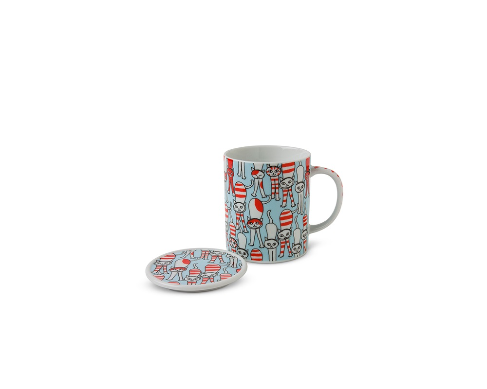 Cat Lidded Mug - Stretchy Blue