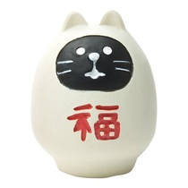Daruma Cat Figurine - White