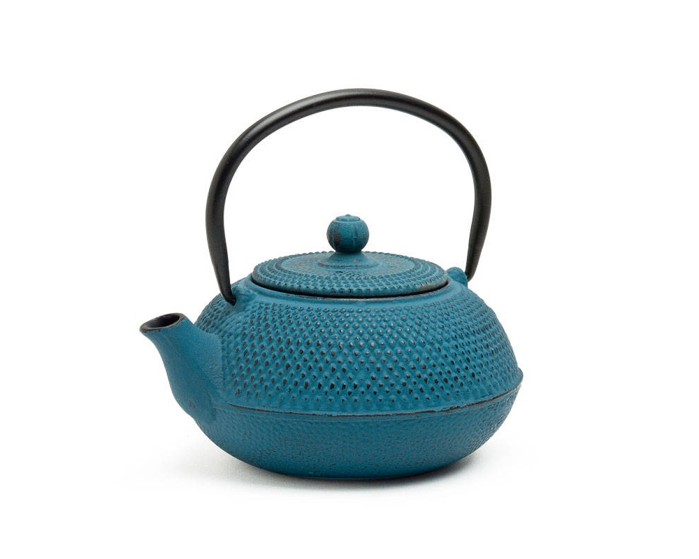 Blue Hobnail Cast Iron Teapot - 20 Oz.