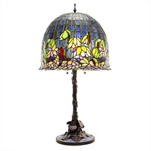 "33.75""H Tiffany Style Flowering Lotus Stained Glass Mosaic 3-Light Table Lamp - Purple"