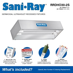 Sani•Ray RRDHO30-2S Included Accessories