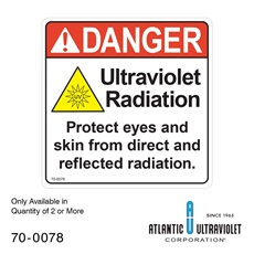 Danger Label For UV Systems 5 x 5""