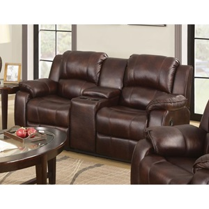 50513 BROWN LOVESEAT W/CONSOLE