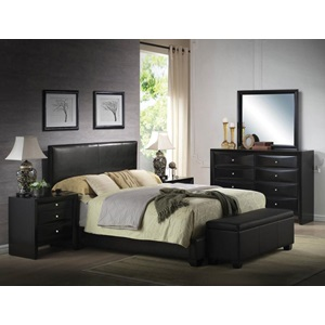 14343 BLACK PU STORAGE BENCH