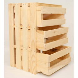 4 Pc. Wood Crates with Drawers (1 Large & 3 Small)
