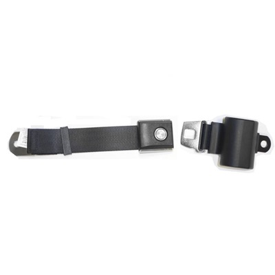 1964-73 Mustang Black Retractable Seat Belt with Starburst Pushbutton Buckle