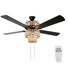 "52""W Antique White and Champagne Crystal Ceiling Fan"
