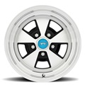 15 x 7 Legendary Flat 5 Alloy Wheel, 5 on 4.5 BP, 4.25 BS, Gloss Black / Machined