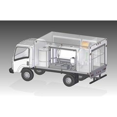 Illustration of open side of Compact Lawn & Shrub Spray Truck