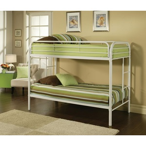 02188WH WHITE TWIN/TWIN BUNK BED
