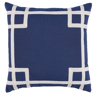 Outdoor Navy with White Tape Pillow