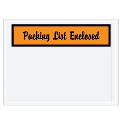 "4.5 X 6"" ORANGE ""PACKING LIST ENCLOSED"" ENVELOPES, 1000/CS   PL2"