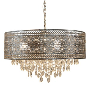 "24""W Brielle Polished Nickel and Crystal 3-Light Chandelier"