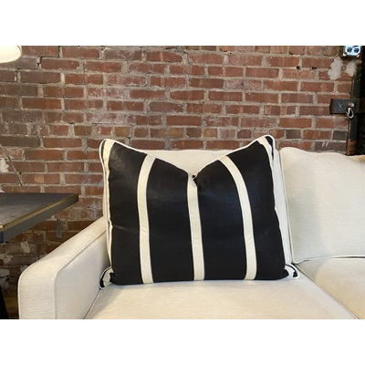 Black Linen Fabric w/ Off-White Leather Stripes Down Pillow - 26x20