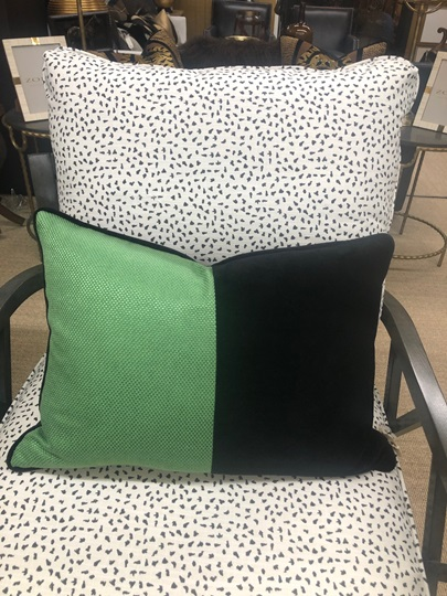 Green and Black Down Pillow