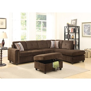 52703 CHOCOLATE OTTOMAN W/STORAGE