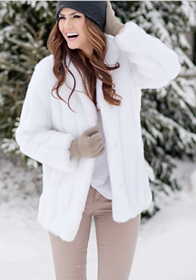 Faux White Mink Fur Jacket - Small