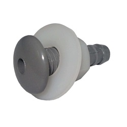 "AIR INJECTOR: BUTTON 3/8"" SINGLE HOLE  WITH NUT GRAY"