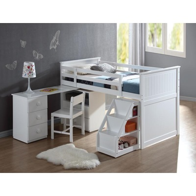 19405 KIT - WHITE TWIN LOFT BED