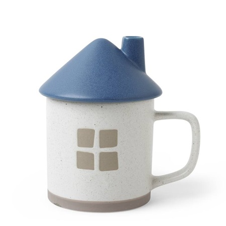 Mug with Lid House Blue Roof