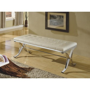 96413 BEIGE PU/CHROME BENCH