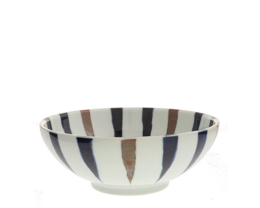 Bowl Brown Indigo Spokes 8-3/8""