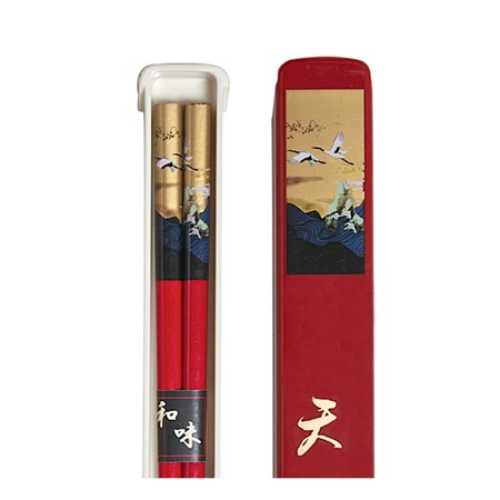 Cranes Chopsticks With Case - Red
