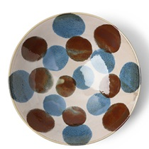 "Rustic Blue & Brown 9.75"" Serving Bowl"