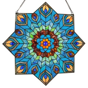 "24""H Tiffany Style Stained Glass Peacock Star Window Panel"