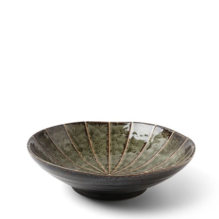 "Kasa Lines Green 6.75"" Shallow Bowl"