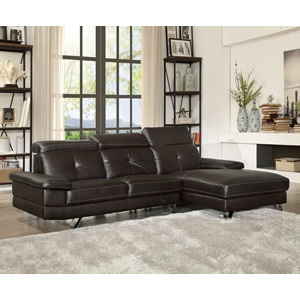 52045 AERYN BROWN PU SECTIONAL SOFA