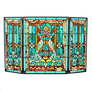 "28""H Tiffany Style Fleur de Lis Fireplace Screen"