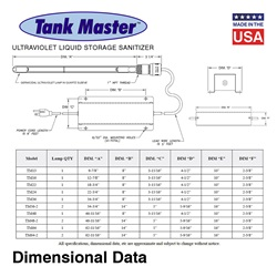 Tank Master™ UV Tank Storage Sanitizers - One Lamp Units
