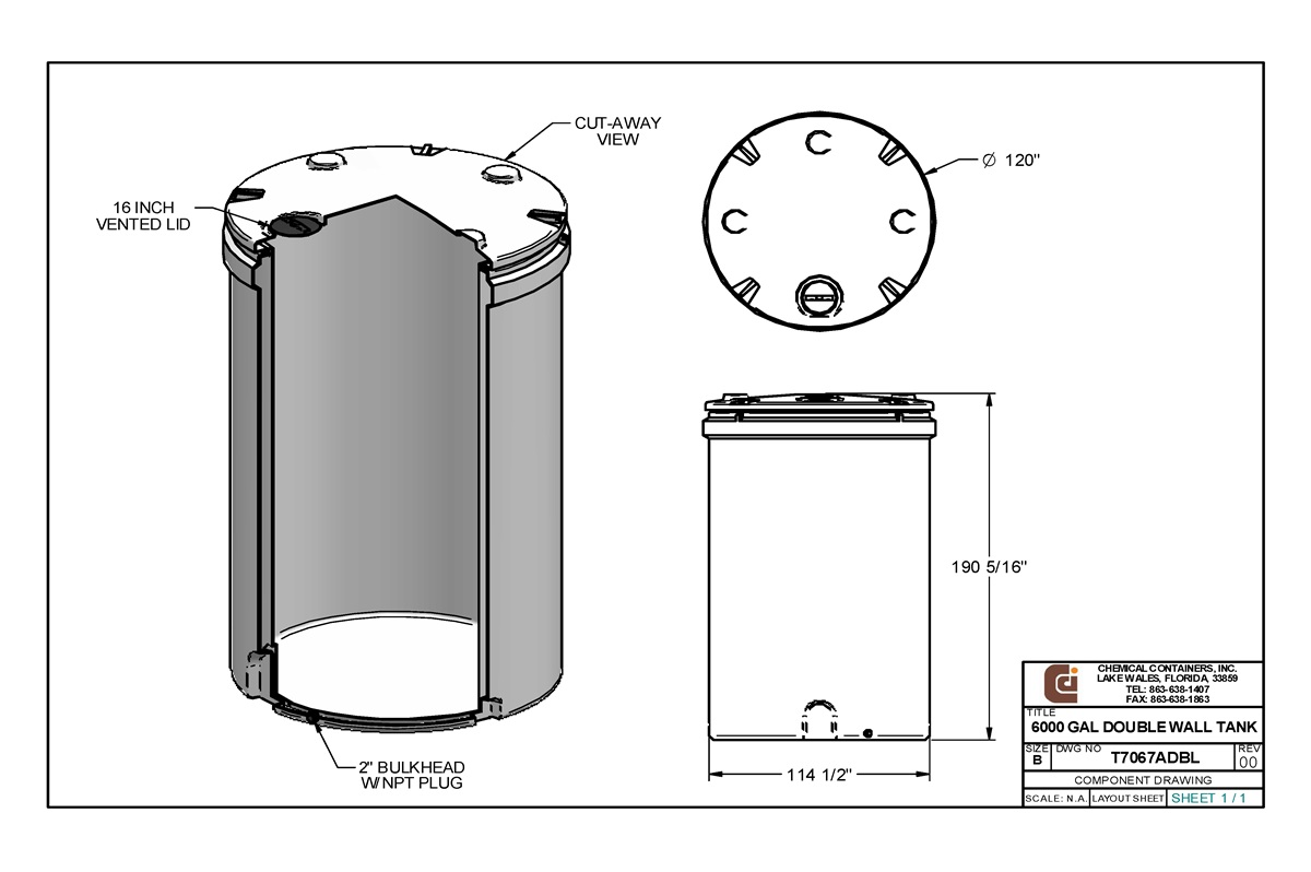 CCI - 6000 Gallon Double Wall Storage Tank - 120