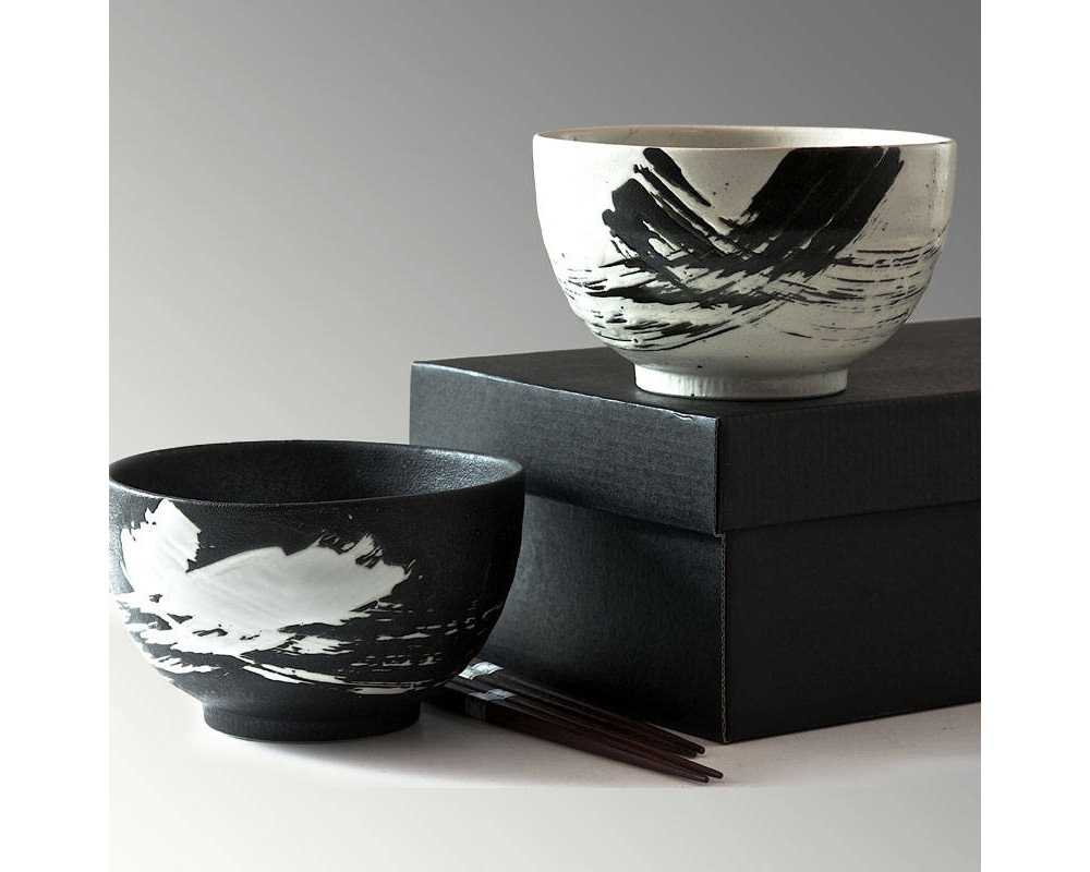 "Black & White Brush Stroke 5"" Bowl For Twoset"