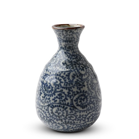 Blue Karakusa Sake Bottle