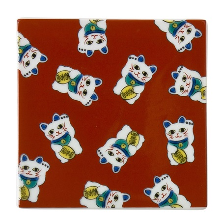 Ceramic Tile/Coaster - Maneki Neko