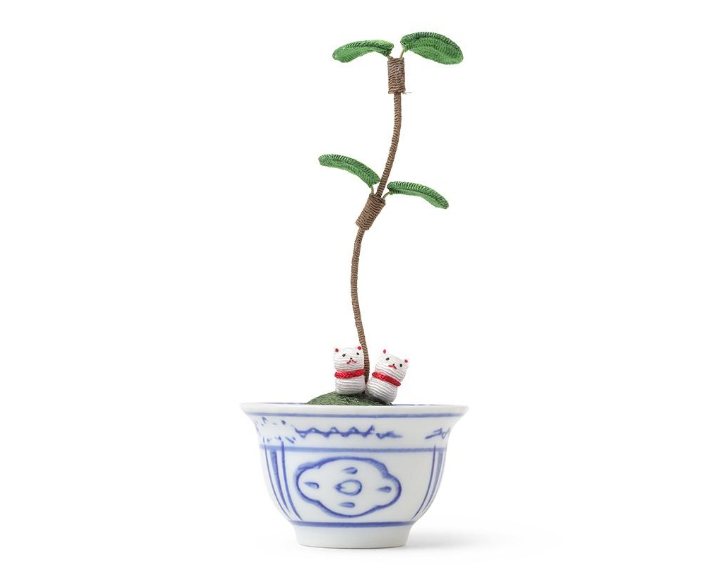 Figurine Potted Plant Fortune Cats