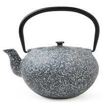 CAST IRON TEAPOT WHITE SPECKLED 40oz.