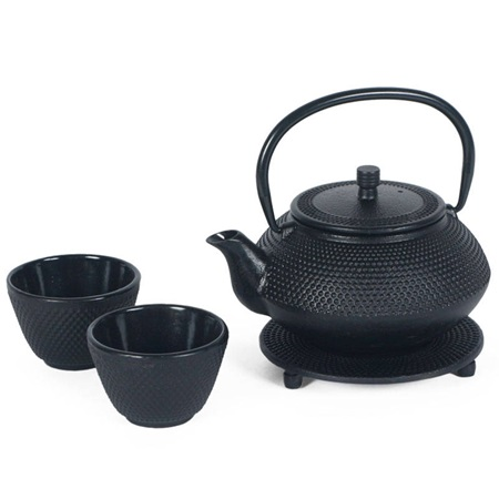 Black Hobnail Cast Iron Tea Set