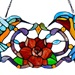 "12""H Stained Glass Hummingbird Floral Window Panel"