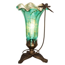 "9""H Handpainted Glass Dragonfly Lily Lamp"