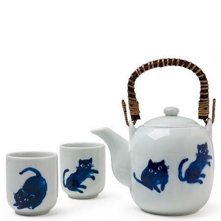 Midnight Blue Cat Tea Set